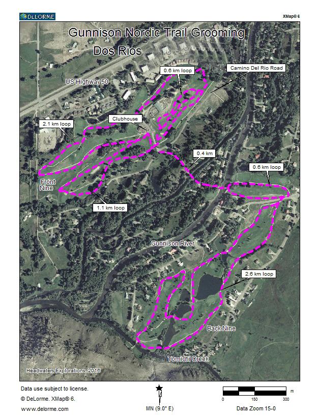 winter grooming map Dos Rios Gunnison, CO